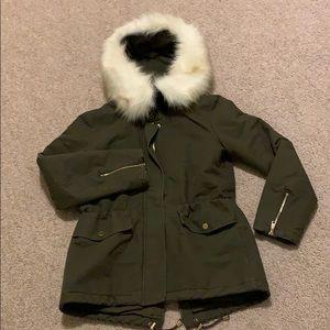 T Tahari faxu fur trim coat